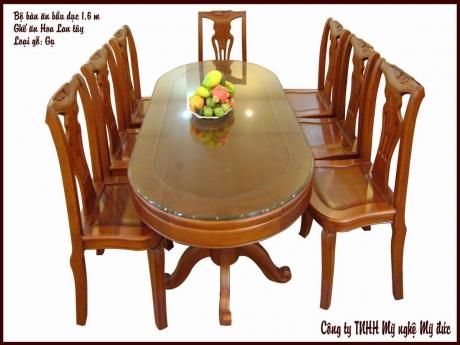 Bộ bàn ăn bầu dục - ghế ăn Hoa Lan Tây