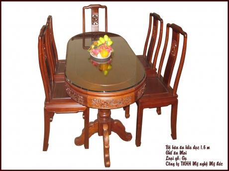 Bộ bàn ăn bầu dục - ghế ăn Mai