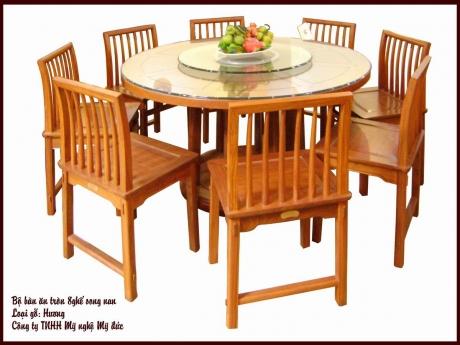 Bộ bàn ăn tròn 8 ghế song nan