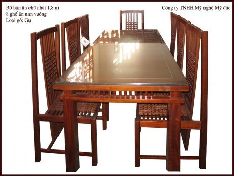 Bộ bàn ăn CN + 8 Ghế nan